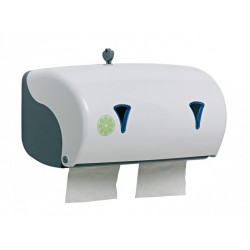 Distributeur papier hygiènique ABS blanc 2 rouleaux horizontaux